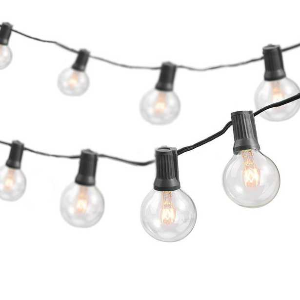 Newhouse Lighting 50 ft. Indoor/Outdoor Party Incandescent String Lights with 55 Incandescent Globe G40 Bulbs (5 Free Bulbs Included) - Home Depot