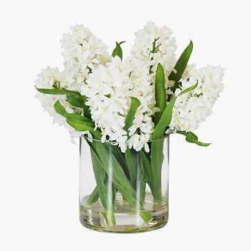 Faux Hyacinth in Cylinder Vase, White - West Elm