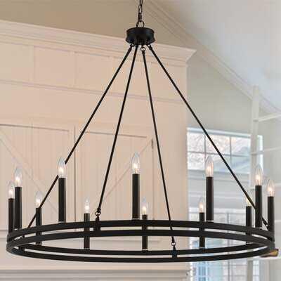 12 - Light Candle Style Wagon Wheel Chandelier - Wayfair