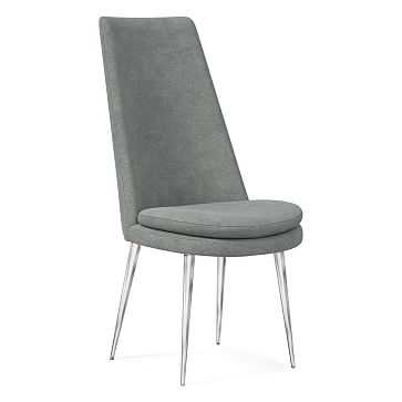 Finley High Back Upholstered Dining Chair, Distressed Velvet, Mineral Gray, Chrome - West Elm