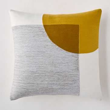 """Crewel Overlapping Shapes Pillow Cover, 18""""x18"""", Pearl Gray - West Elm"""
