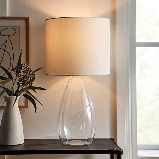 "Foundations Glass Table Lamp, 31.2"", Tear Clear - West Elm"