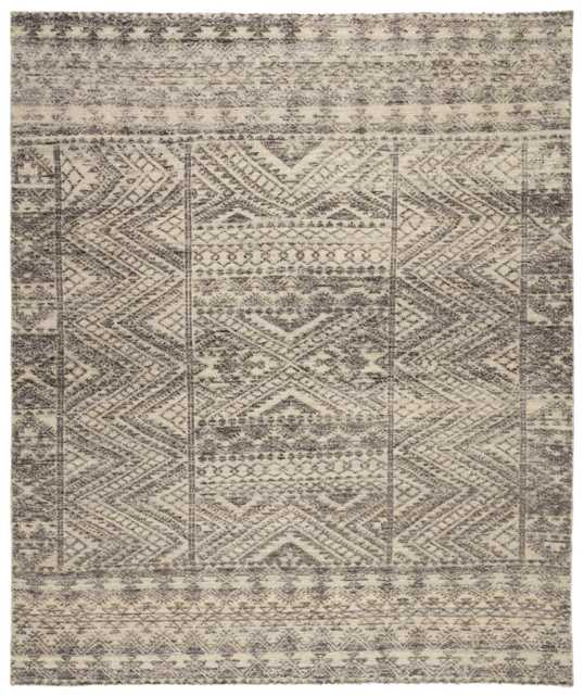 Prentice Hand-Knotted Geometric Dark Gray/ Taupe Area Rug (8'X11') - Collective Weavers