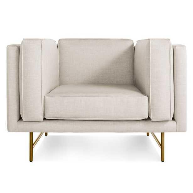 Blu Dot Bank Lounge Chair Upholstery Color: Sanford Linen, Leg Color: Brass - Perigold