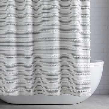"Organic Stripe Stitch Candlewick Shower Curtain, 72""x74"", Stone White + Black - West Elm"