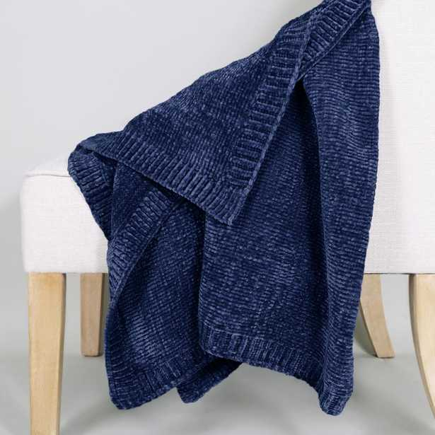 Allied Home Chenille Throw, Blue - Home Depot
