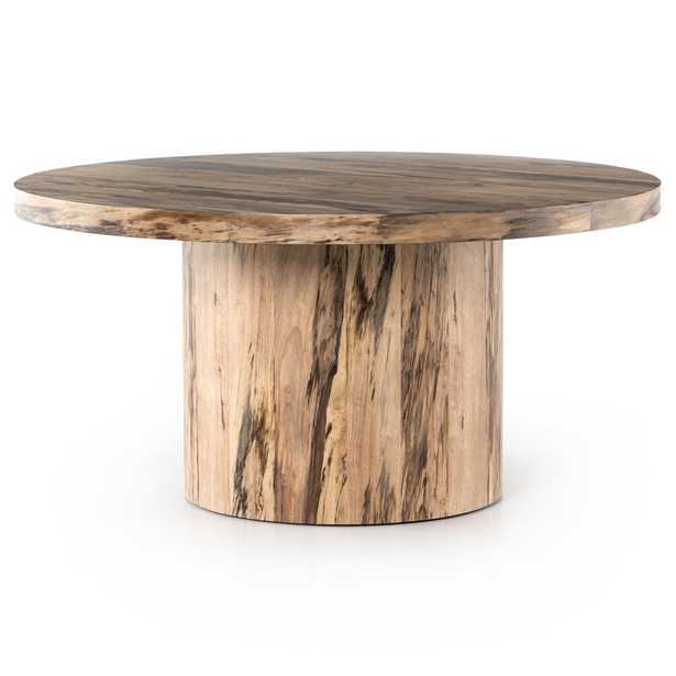 Chase Rustic Lodge Brown Primavera Wood Round Pedestal Classic Dining Table - Kathy Kuo Home