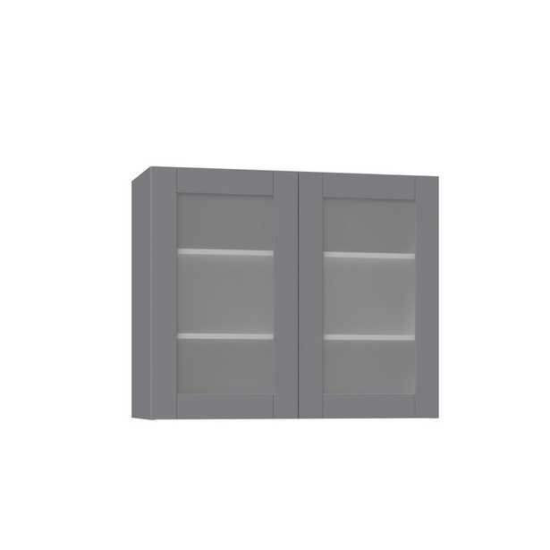 J COLLECTION Shaker Assembled 36 in. x 30 in. x 14 in. Wall Cabinet with Frosted Glass Doors in Gray - Home Depot