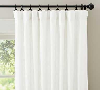 "Emery Linen Poletop Drape, 100 x 84"", White, Cotton Lining - Pottery Barn"
