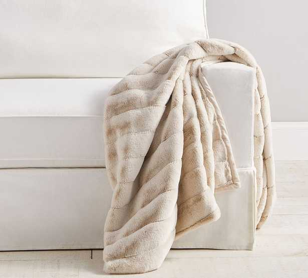 """Faux Fur Throw, 50 x 60"""", Sand Channel - Pottery Barn"""
