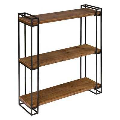 Azariah Wood and Metal Floating Wall Shelf - Wayfair