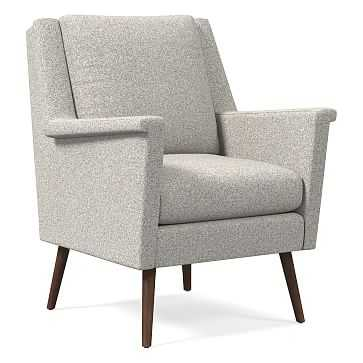 Carlo Mid-Century Chair, Poly, Chenille Tweed, Irongate, Pecan - West Elm