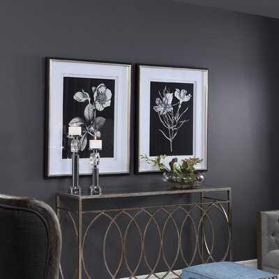'Black and White Flowers' 2 Piece Framed Graphic Art Set - Birch Lane