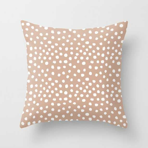 """Dots - Almond, Muted, Rust, Earth Tones, Brown, Muted, Painted Dots, Painterly, Minimal, Simple Pattern Couch Throw Pillow by Charlottewinter - Cover (18"""" x 18"""") with pillow insert - Indoor Pillow - Society6"""