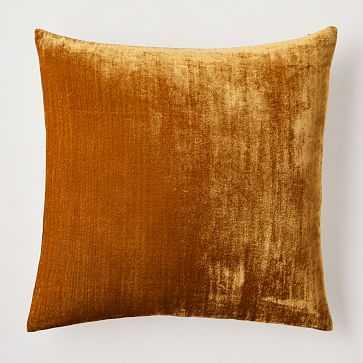 """Lush Velvet Pillow Cover, 20""""x20"""", Golden Oak - West Elm"""