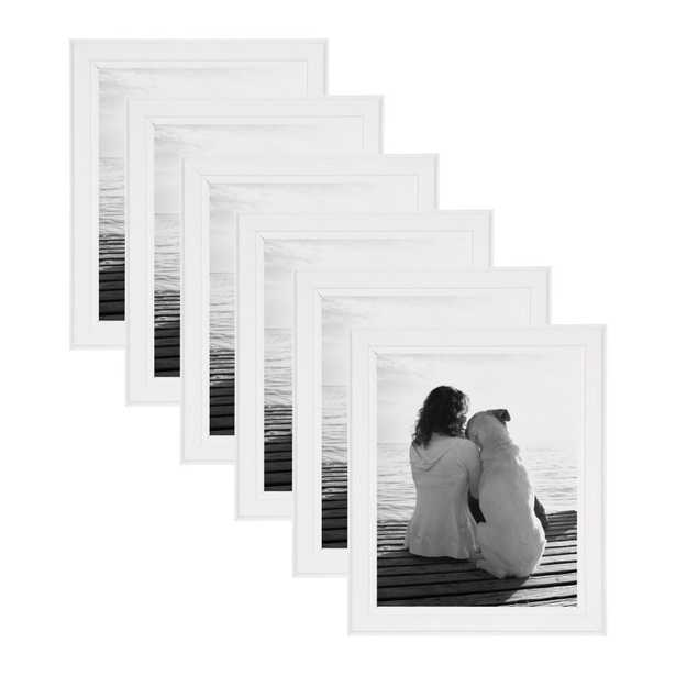 DesignOvation Kieva 8x10 White Picture Frame (Set of 6) - Home Depot