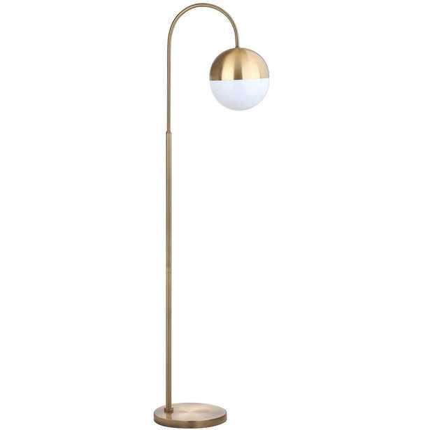 Safavieh Jonas 55.5 in. Brass Gold Floor Lamp with White Shade - Home Depot