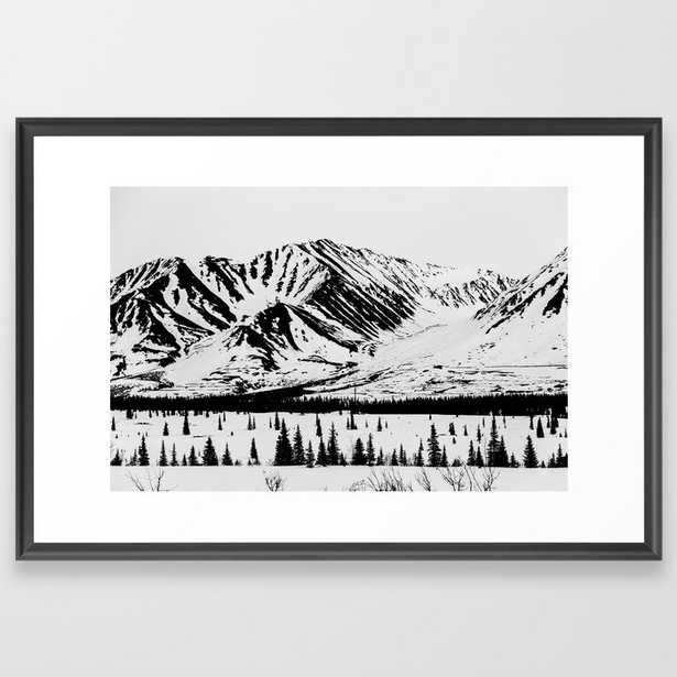 Black And White Mountains Framed Art Print by Hannah Kemp - Scoop Black - LARGE (Gallery)-26x38 - Society6