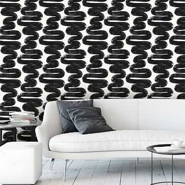 Peel & Stick Wiggle Room Wall Paper, White And Black - West Elm