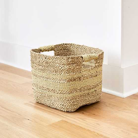 Two Tone Metallic Woven Storage Basket, Natural & Gold, Seagrass - West Elm