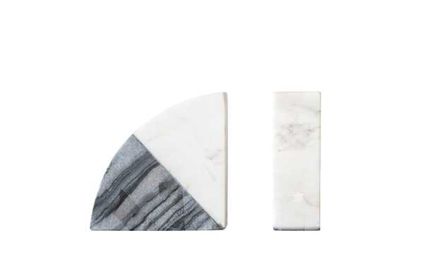 Wedge Marble Bookends, White & Gray,  Set of 2 - Moss & Wilder