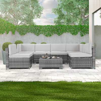 7 Piece Outdoor Patio Furniture Set, Gray Pe Rattan Wicker Sofa Set, Outdoor Sectional Furniture Chair Set With Gray Cushions And Tea Table - Wayfair