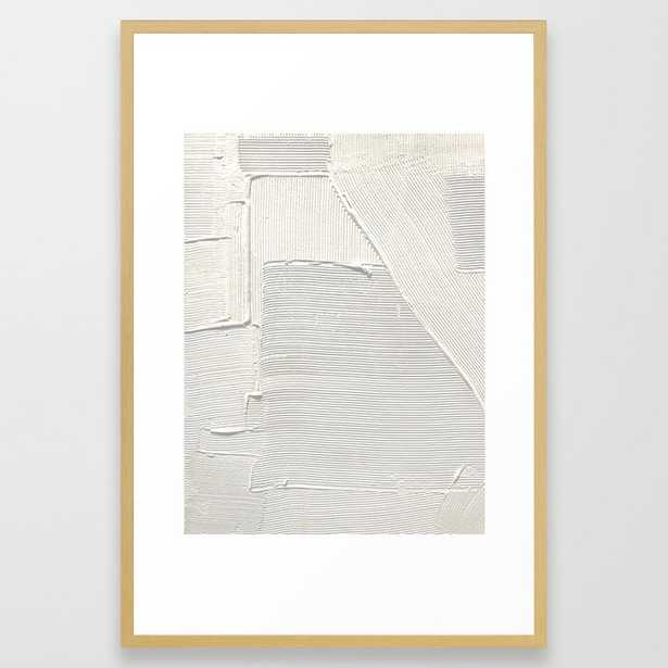 Relief [2]: An Abstract, Textured Piece In White By Alyssa Hamilton Art Framed Art Print by Alyssa Hamilton Art - Conservation Natural - LARGE (Gallery)-26x38 - Society6