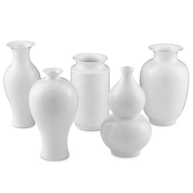 Aurora Modern Classic White Porcelain Vase - Set of 5 - Medium - Kathy Kuo Home