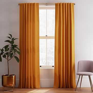 """Solid Belgian Linen Curtain, Dark Amber, 48""""x96"""" - West Elm"""