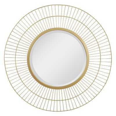 """Stonebriar 28"""" Decorative Modern Round Metal Wire Mirror For Wall - Wayfair"""