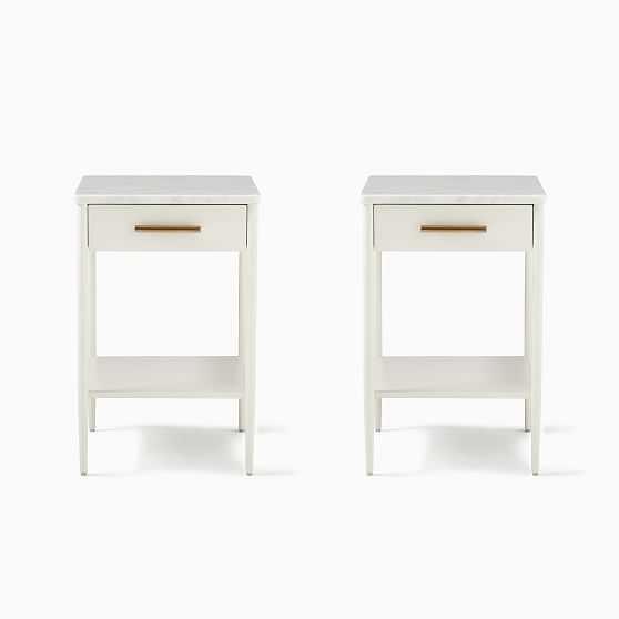 Metalwork Storage Nightstand, White/Marble, Bundle - West Elm