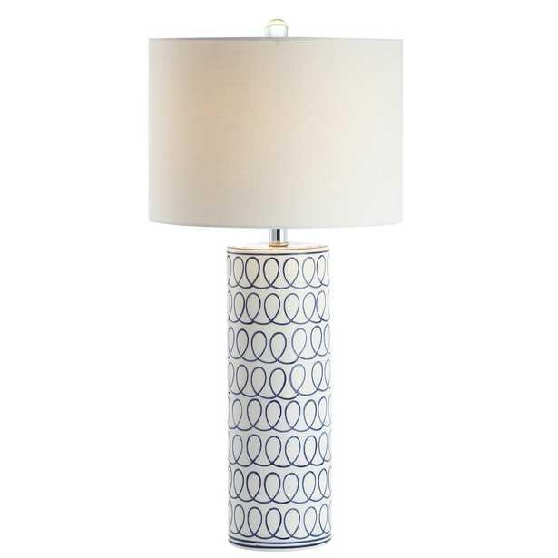 "JONATHAN Y Loop 28.75"" Ceramic Modern Column LED Table Lamp, Blue/White - Home Depot"
