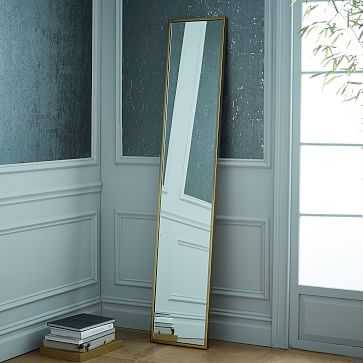 Metal Framed Narrow Floor Mirror, Antique Brass - West Elm