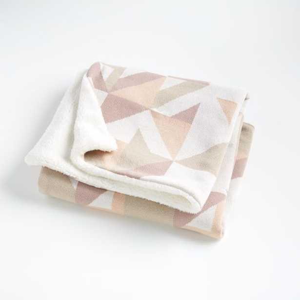 Pink Graphic Fur Baby Blanket - Crate and Barrel