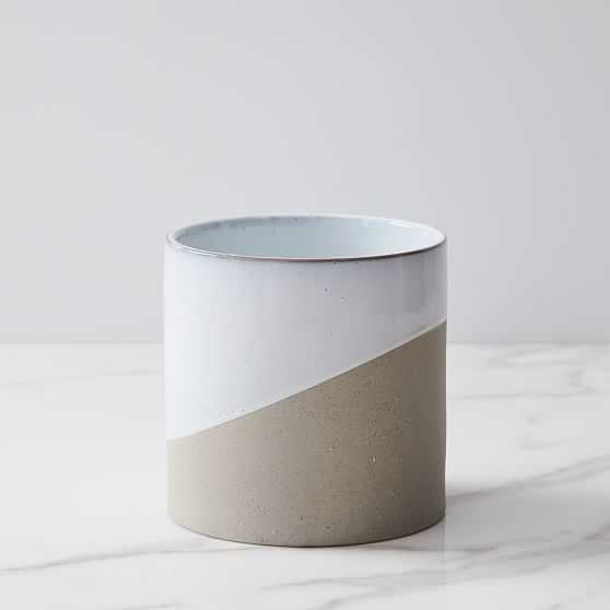 Pure Slope Planter, Concrete & Ceramic, Small, White - West Elm