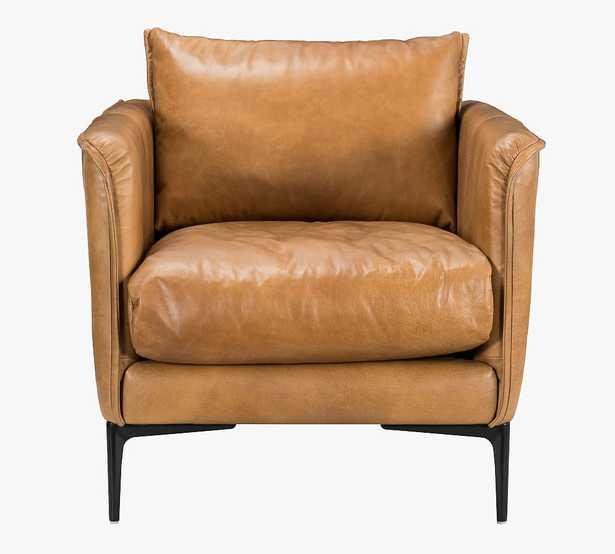 Waldorf Leather Armchair, Brown - Pottery Barn
