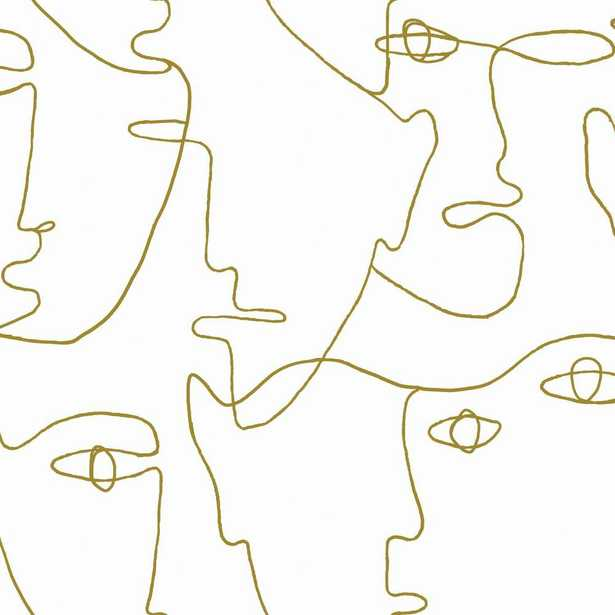 York Wallcoverings 28.18 sq. ft. Pablo Portraits Peel and Stick Wallpaper, Gold - Home Depot