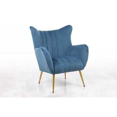 """Rossville 30"""" W Tufted Velvet Wingback Chair - Wayfair"""