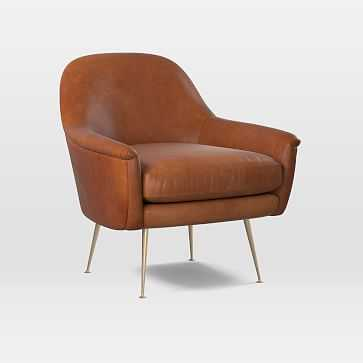 Phoebe Upholstered Mid-Century Chair, Poly, Vegan Leather, Saddle, Brass - West Elm