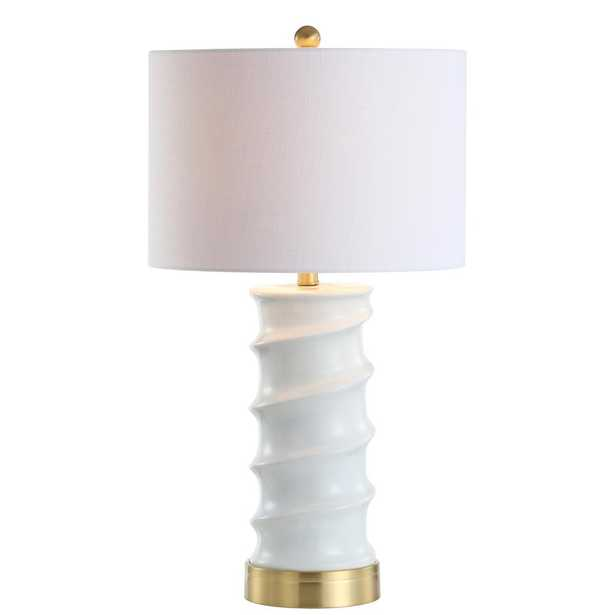 JONATHAN Y Taipei 28 in. White/Gold LED Table Lamp - Home Depot