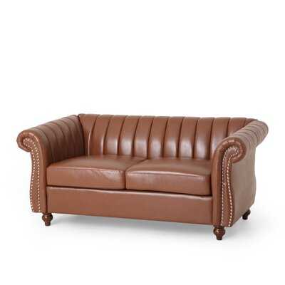 """61.75"""" Wide Faux Leather Rolled Arm Loveseat - Wayfair"""