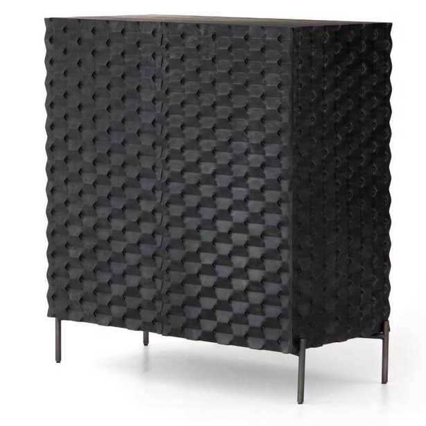 Angeline Modern Classic Black Carved Wood Bar Cabinet - Kathy Kuo Home