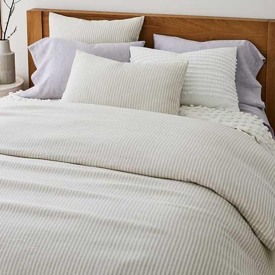 European Flax Linen Classic Stripe Duvet, King Duvet & King Shams, Natural Flax - West Elm