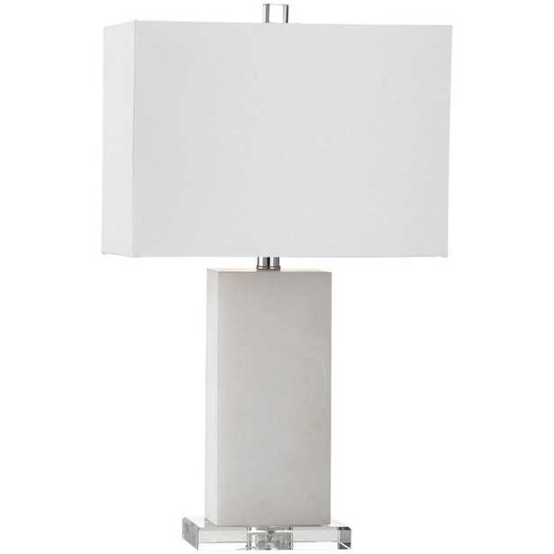 Safavieh Martin 24 in. Marble Table Lamp with Off-White Shade - Home Depot