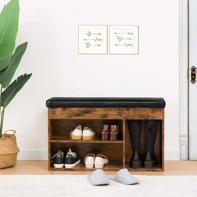 17 Stories Shoe Bench With Cushion, Storage Bench With Flip-Open Storage Box And Adjustable Shelf, Padded Shoe Rack With Hidden Compartment And 3 Cube, For Entryway, Living Room, Rustic Brown - Wayfair