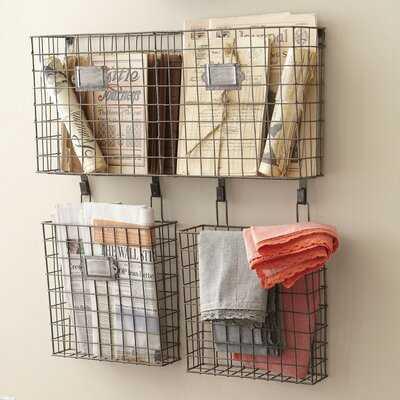 Omro Wall Storage Organizer with Wall Baskets - Birch Lane