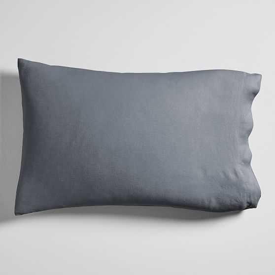 European Flax Linen Solid Sheet Set, Standard, Pillow Cover, Set of 2, Iron Blue - West Elm