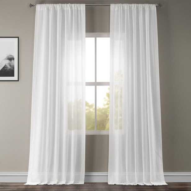 Exclusive Fabrics & Furnishings White Orchid Faux Linen Sheer Curtain - 50 in. W x 84 in. L (individual) - Home Depot