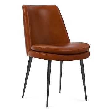 Finley Low Back Dining Chair Leather Saddle, Gunmetal - West Elm