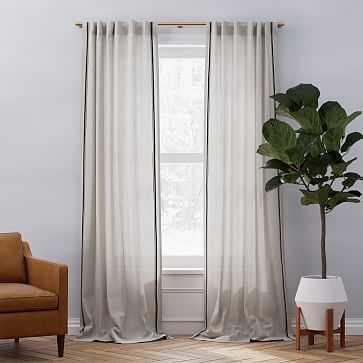 "Belgian Flax Linen Embroidered Stripe Curtain, Belgian Flax + Midnight, 48""x84"" - West Elm"